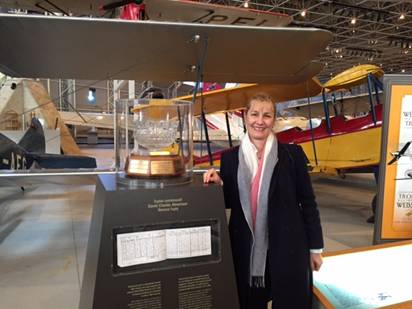 2015 Recipient Cathy Press on a recent visit to the Canada Aviation & Space Museum, while attending a conference in Ottawa.